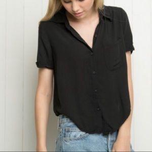 Brandy Melville Peyton Top In Black Short Sleeve